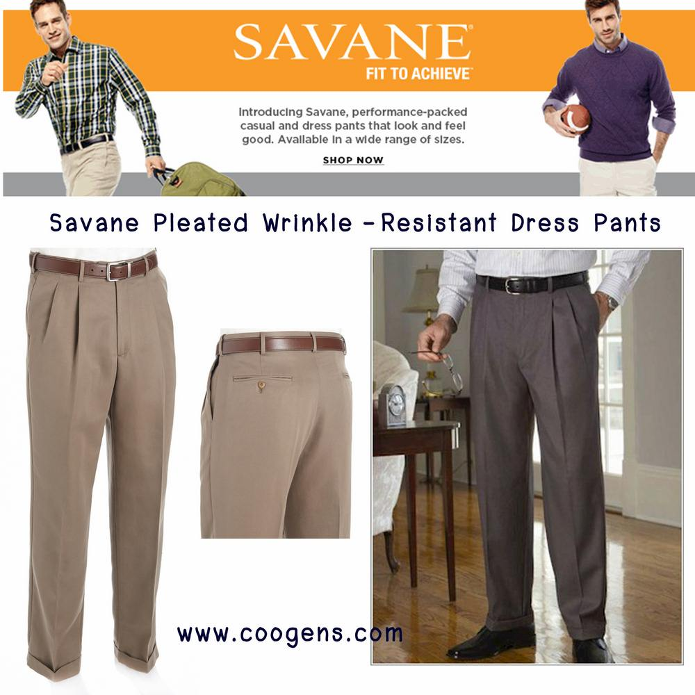 Savane® Pleated Wrinkle-Resistant Dress Pants