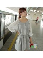 CHERRY KOKO DRESS ชุดเดรสแฟชั่นผ้าคอตตอน แขนเสื้อผ้าชีฟองอัดพลีท คอกลม น่ารัก สีเทา ขาว ใส่ทำงาน กระดุมหน้า ใส่เที่ยวชิวๆ ASIA STREET FASHION