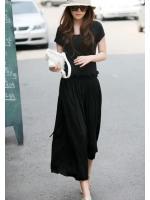 maxi dress ชุดเดรสยาว แฟชั่นเกาหลี ผ้า cotton สีดำ ใส่ทำงาน เที่ยว น่ารัก Asia Street Fashion