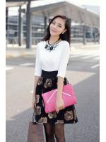 dress ชุดเดรสแฟชั่น ใส่ไปทำงาน ออฟฟิศ ใสเที่ยว สีขาว ดำ กระโปรงลายดอกไม้ น่ารัก Asia Street Fashion
