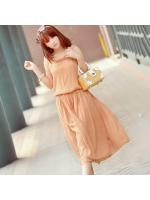 maxi dress ชุดเดรสยาว ใส่ทำงาน ใส่เที่ยว เสื้อกล้าม สี Apricot จั๊มเอว ใส่ไปทะเลชิวๆ น่ารักๆ Asia Street Fashion