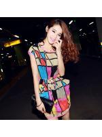 dress ชุดเดรส ลายสีชมพู ใส่ทำงาน ผ้าชีฟอง จั๊มเอว น่ารัก Asia Street Fashion