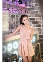 dress เดรสทํางาน สีโอรส ผ้าชีฟอง น่ารักๆ ใส่ออกงานได้