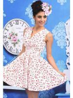 DRESS ชุดเดรสแฟชั่นใส่ออกงาน แขนกุด ผ้าชีฟอง พื้นสีครีมลายดอกไม้ ใส่ทำงานได้ ASIA STREET FASHION