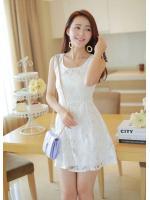 DRESS ชุดเดรสแฟชั่น ผ้าลูกไม้ สีขาว ใส่ออกงานแต่ง ใส่ทำงาน สวยน่ารักมากๆ