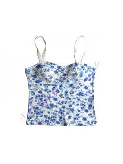 tp2 เสื้อสายเดี่ยวลายดอก สีขาว น้ำเงิน Size M --> H&M