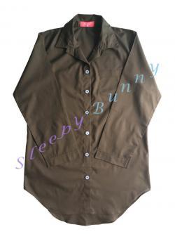 ds65 ชุดนอนเดรสเชิ้ตสีน้ำตาลเขียวขี้ม้า พร้อมส่ง Size M --> Pajamazz