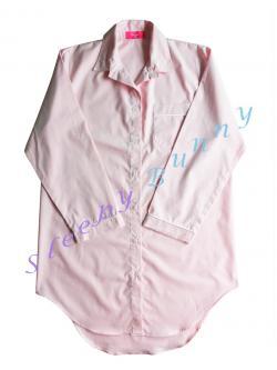 ds69X ชุดนอนเดรสเชิ้ตไซส์ใหญ่ สีชมพูอ่อน พร้อมส่ง Size L --> Pajamazz