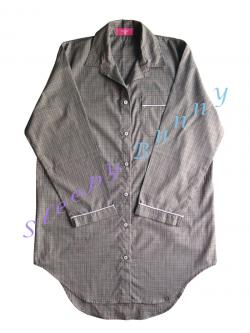 ds62 ชุดนอนเดรสเชิ้ตสีเทา ลายสก็อตดำแดง พร้อมส่ง Size M --> Pajamazz