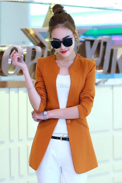 เสื้อสูทแฟชั่น พร้อมส่ง สีส้มอิฐ แขนยาว คอจีน ตัวยาวคลุมสะโพก ติดกระดุมเม็ดเดียวเก๋ เหมาะสำหรับใส่ทำงานได้