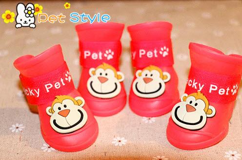 รองเท้าสุนัข รองเท้าแมว บูทยางสีแดง(4 ข้าง)