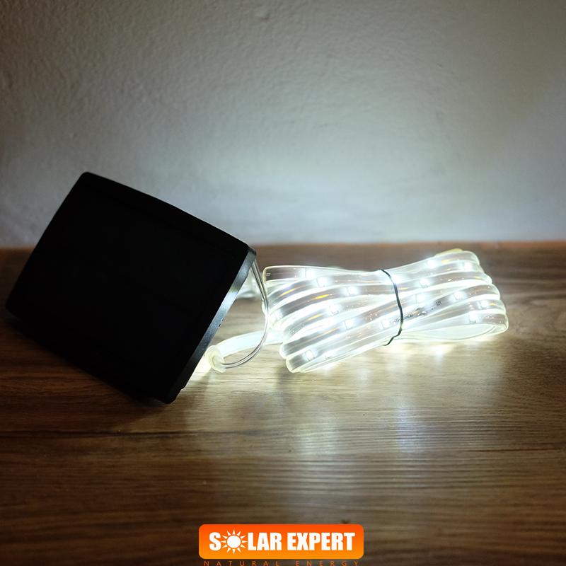 E03 ไฟสายยางโซล่าเซลล์ 100 SMD LED สีขาว