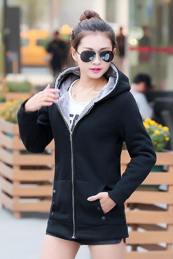 เสื้อกันหนาว พร้อมส่ง สีดำ ซิบหน้า มีฮูทสุดเท่ห์ ฮูทบุด้วยขนสัตว์สังเคราะห์นิ่มๆ แฟชั่นมาใหม่สไตล์เกาหลี