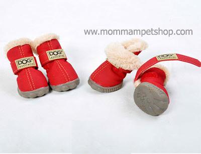 รองเท้าสุนัข รองเท้าแมว สีแดงแบบผ้ากันลื่น (4 ข้าง)