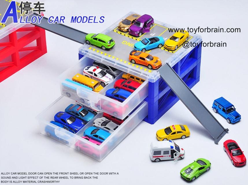 กล่องลิ้นชักเก็บรถ 2 ชั้น พร้อมSlider สีน้ำเงิน 2 layer Car storage with slide