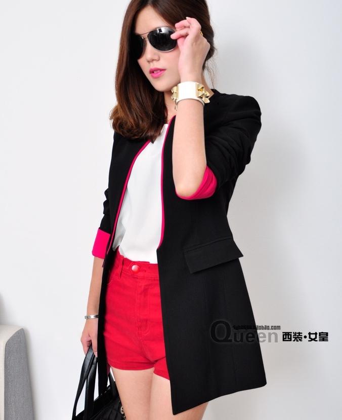 เสื้อสูทแฟชั่น พร้อมส่ง แขนยาว สีดำ แต่งปลายแขนเสื้อสีชมพูสดใส คอจีน ตัวยาวคลุมสะโพก เหมาะสำหรับใส่ทำงานได้