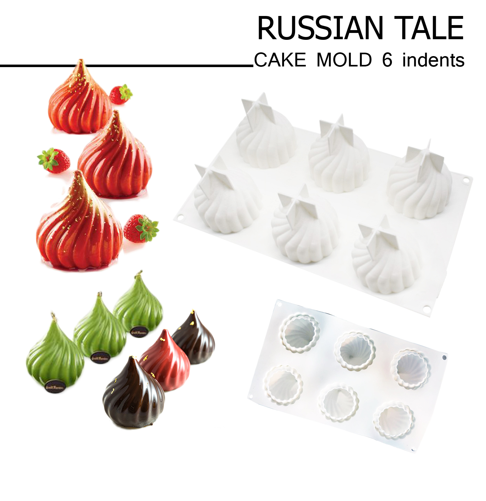 Russian tale CAKE MOLD 6 indents