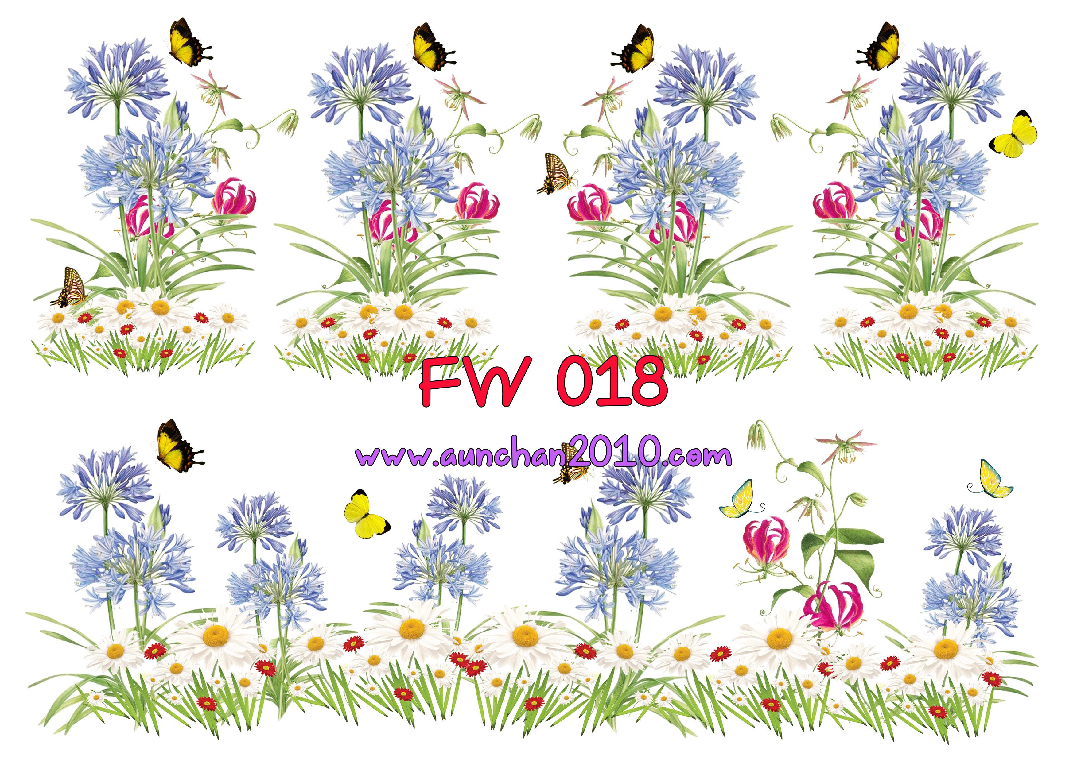 FW018 กระดาษแนพกิ้น 21x30ซม. ลายดอกไม้