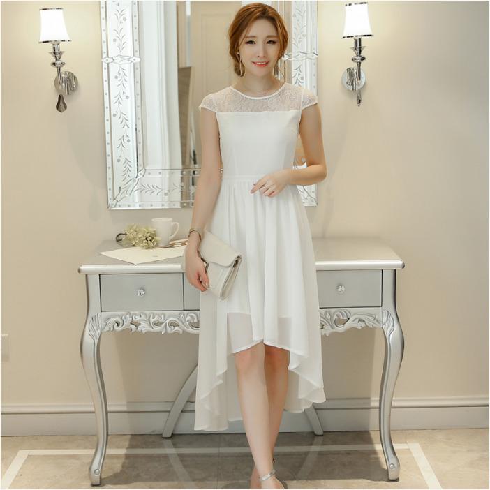 ชุดเดรสยาวสีขาว กระโปรงหน้าสั้นหลังยาว แนวสวยหวาน น่ารัก สไตล์เกาหลี