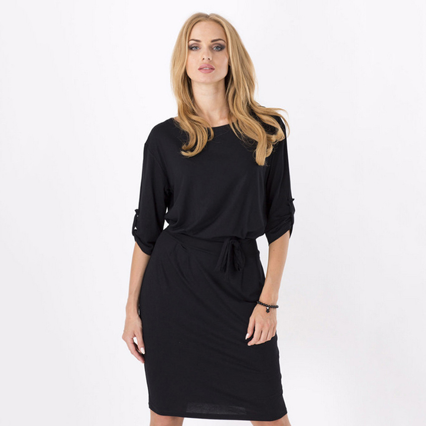 Cyber Women'S 3/4 Sleeve Formal Dresses For Women Tunic Dress ( Black )