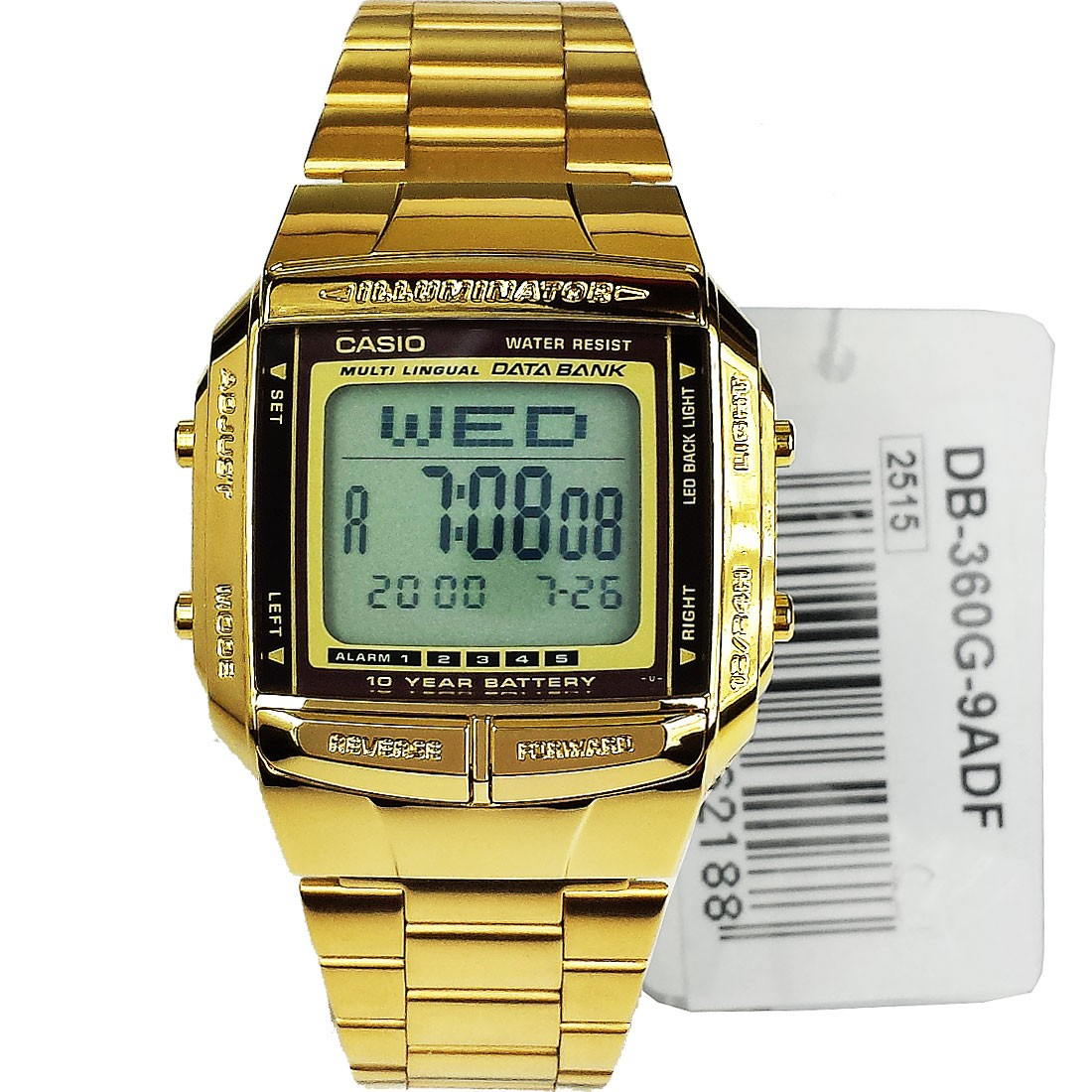 Casio Digital Gold Tone DB360G-9ADF