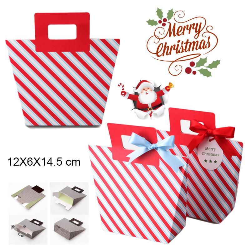 ถุงหูหิ้ว คุ๊กกี้ แดง ลายขวาง (ทรงกระเป๋า) 12X6X14.5cm