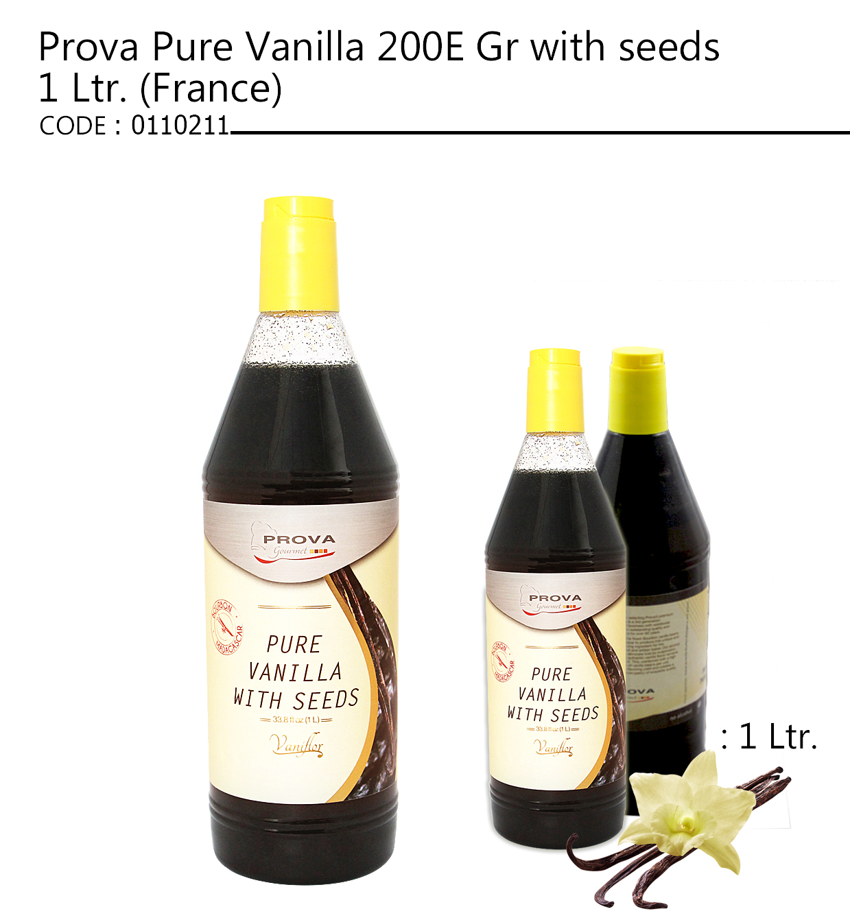 Prova Pure Vanilla 200E Gr with seeds 1 Ltr. (France)