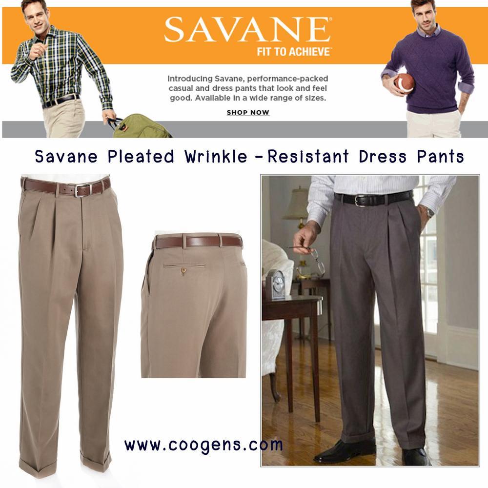 Savane® Pleated Wrinkle-Resistant Dress Pants