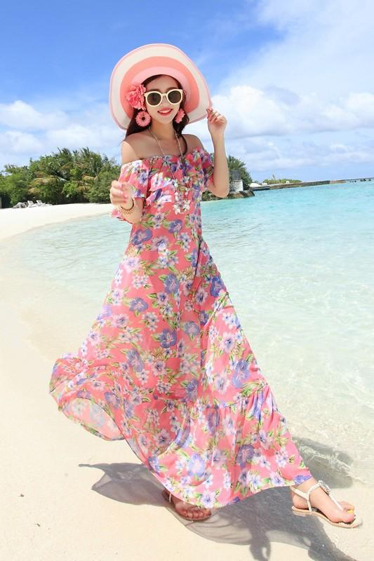 MAXI DRESS ชุดเดรสยาว พร้อมส่ง สีชมพู ลายดอกไม้สีโทนม่วง สวยมาก ดีเทลระบายเป็นชั้นช่วงคอเสื้อ