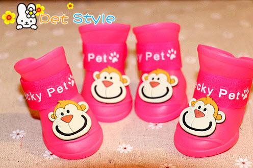 รองเท้าสุนัข รองเท้าแมว บูทยางสีชมพู (4 ข้าง)