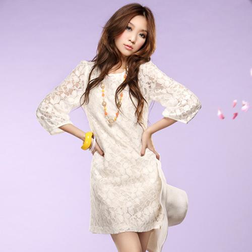 dress ชุดเดรสแฟชั่น ออกงาน ใส่ทำงาน ผ้าลูกไม้ สีขาว ใส่ไปงานแต่งงาน สวยๆ