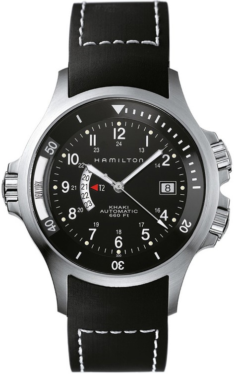 Hamilton Men's H77615333 Khaki Navy GMT Black Dial Watch