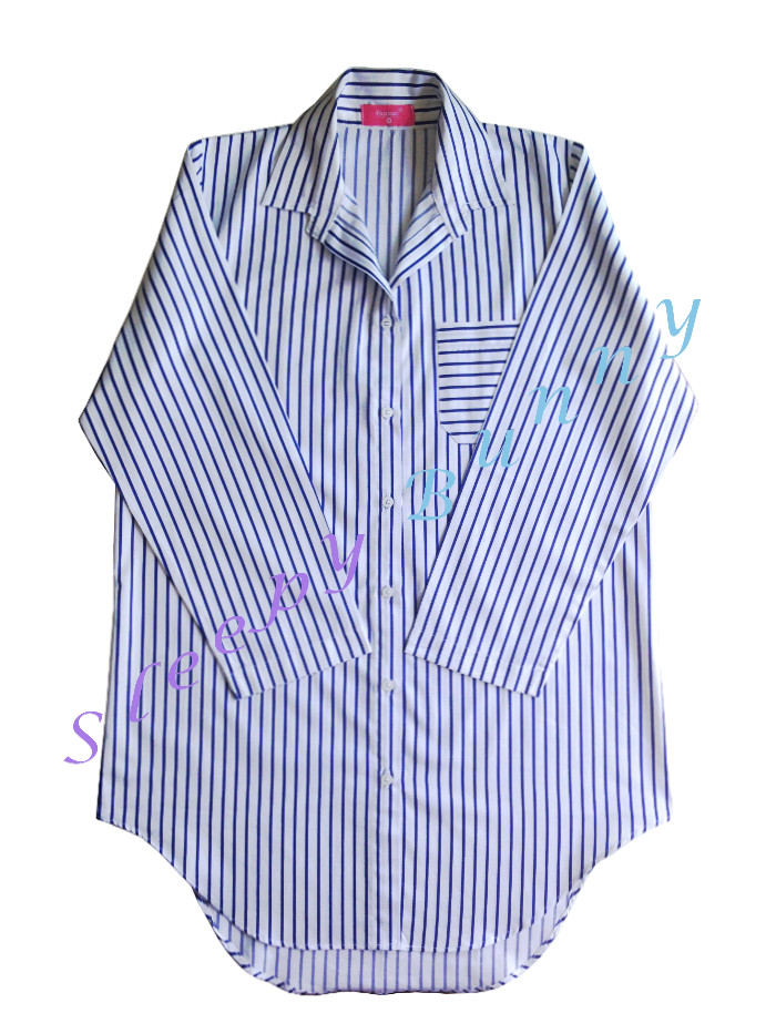 ds63 ชุดนอนเดรสเชิ้ตลายทาง สีขาวน้ำเงิน Size S, M --> Pajamazz