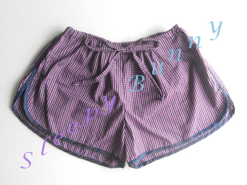 ขายแล้วค่ะ bx40 กางเกงขาสั้น boxer ผู้หญิง ลายตารางเล็ก สีม่วงน้ำตาลขลิบกรมท่า free size (S, M, L)