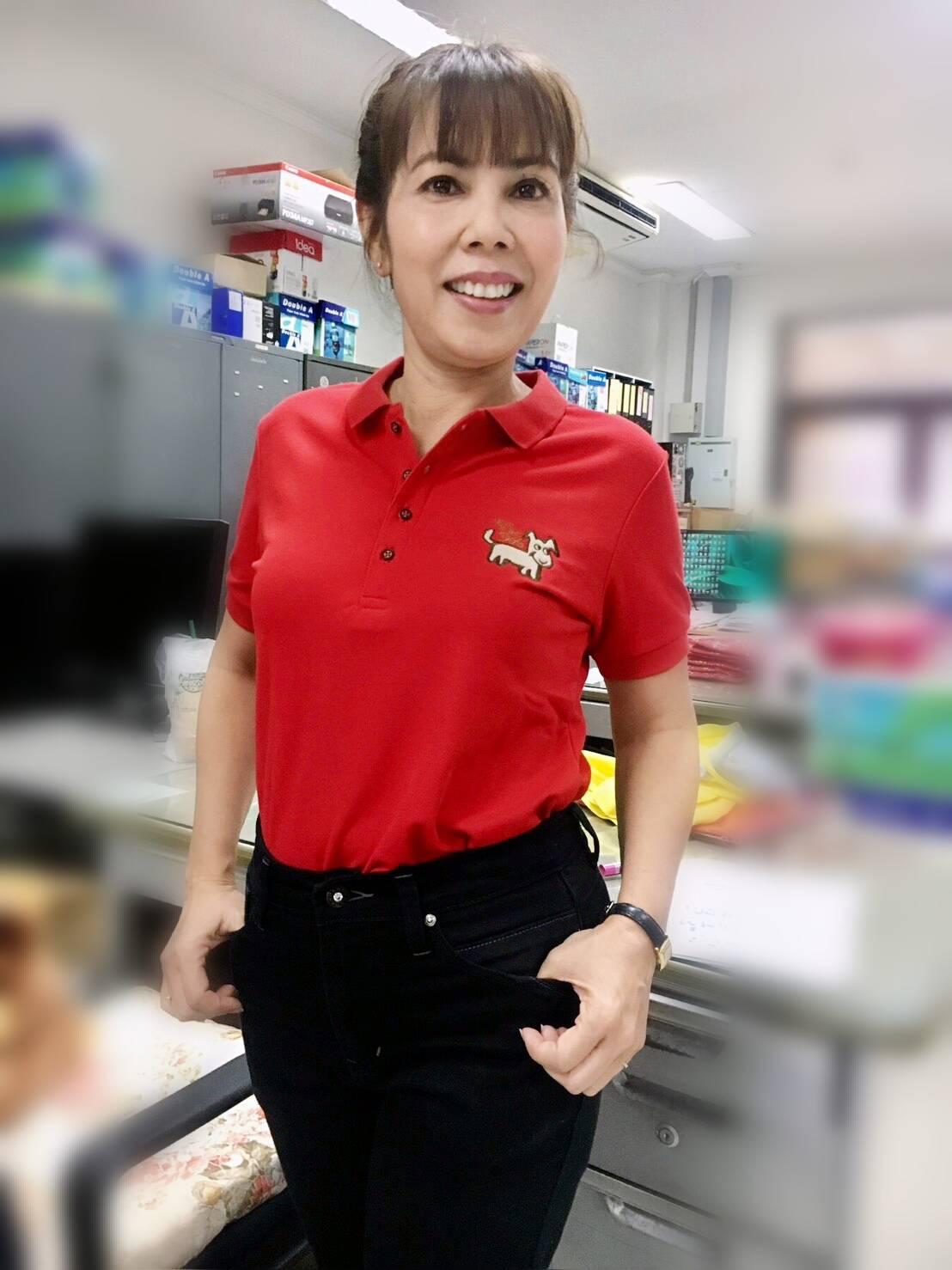 เสื้อโปโลสีแดง ปักปีจอ