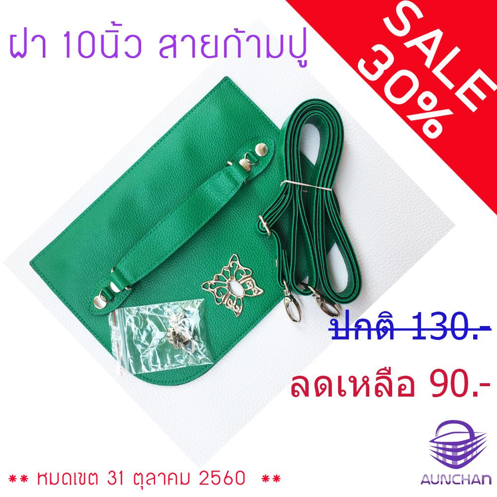 ฝากระเป๋าหนัง 10นิ้ว สายก้ามปู (ครบชุด) สีเขียวสด