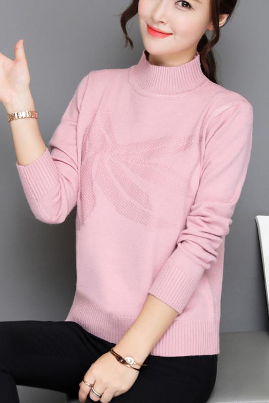 เสื้อกันหนาวไหมพรม คอเต่า สีชมพู พร้อมส่ง แต่งลายน่ารัก แขนยาว ตัวยาวสั้น ใส่กันหนาวได้ค่ะ