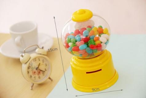 Candy Machine เครื่องหมุนลูกกวาด พร้อมเป็นกระปุกออมสิน สีเหลือง