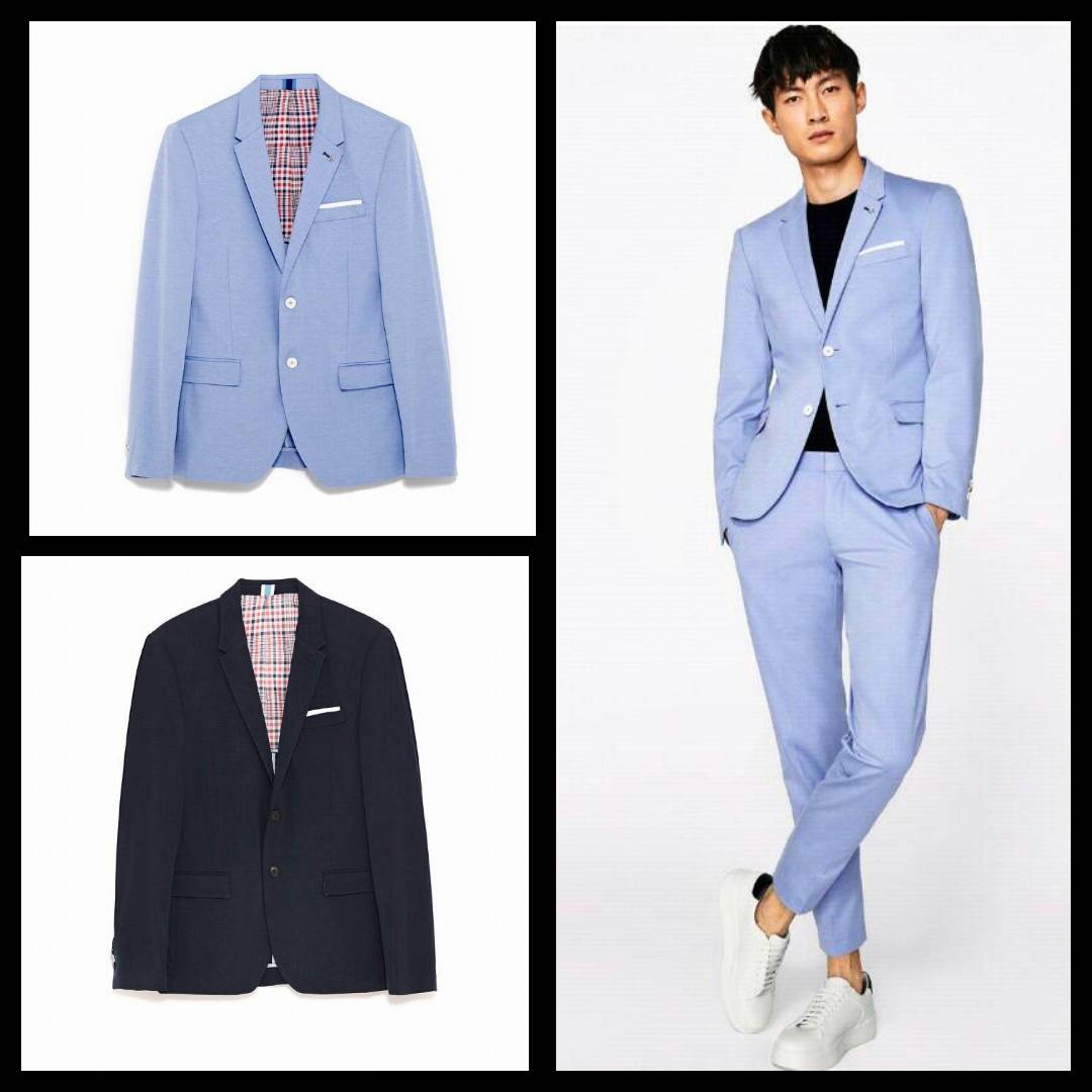 Zara Men's Blazer (Suit ) With Textured Weave