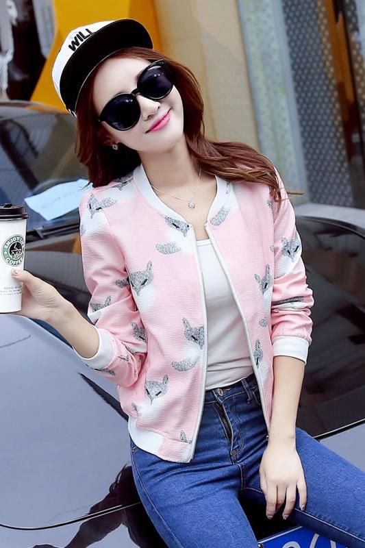 เสื้อคลุม พร้อมส่ง เสื้อคุลมแฟชั่น สีชมพูหวานๆ ลายกระรอกน่ารัก ผ้าคอนตอน ใส่สบาย