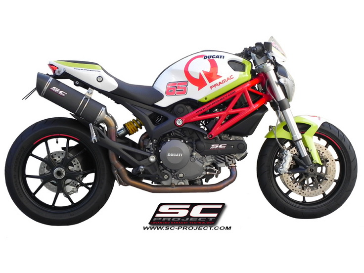 SC Project Full system Oval Black Steel for Ducati Monster 796