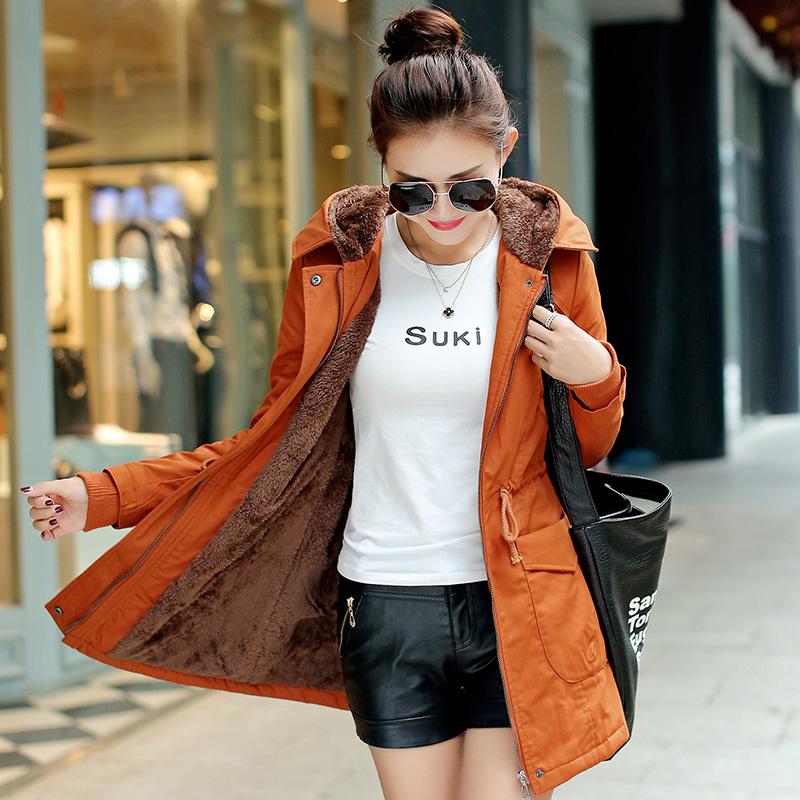 เสื้อโค้ท เสื้อกันหนาว แต่งตัดด้วยสีน้ำตาลสีสวย พร้อมส่ง สีส้ม แขนยาวจั๊มปลายแขน