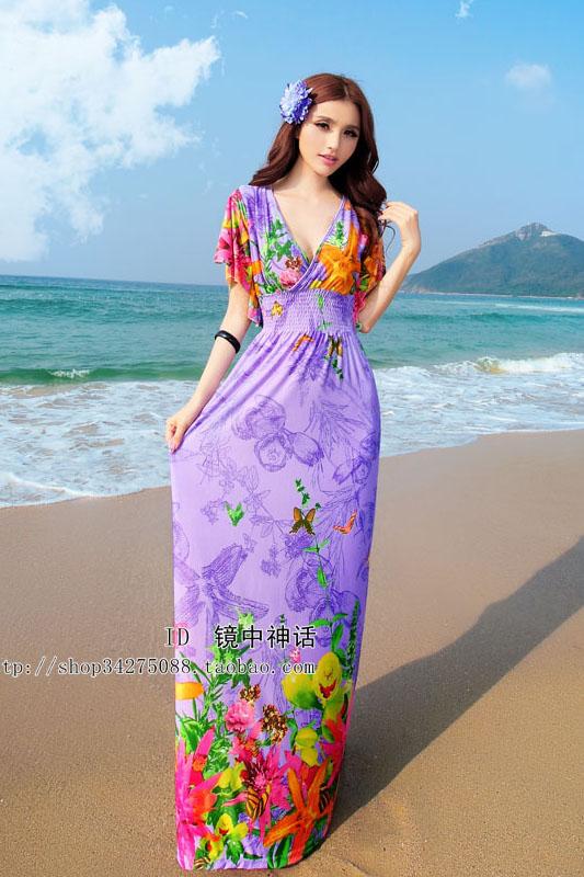 maxi dress ชุดเดรสยาว พร้อมส่ง สีม่วง คอวีลึก ลายดอกไม้สีสัน สม๊อคช่วงเอว สวยมากๆค่ะ