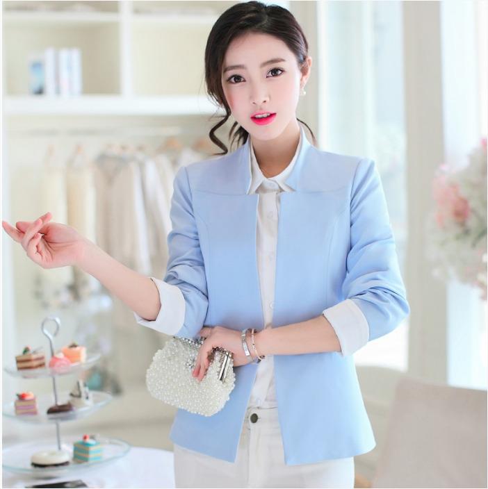 เสื้อสูททำงานผู้หญิงสีฟ้า แขนยาว ทรงสวย ลุคเรียบๆ สวสง่า ดูดี