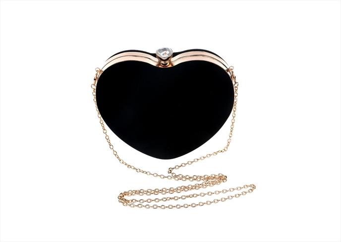 กระเป๋าออกงานสีดำ ทรงหัวใจ วัสดุผ้ากำมะหยี มีหูถือ+สายสะพายข้าง