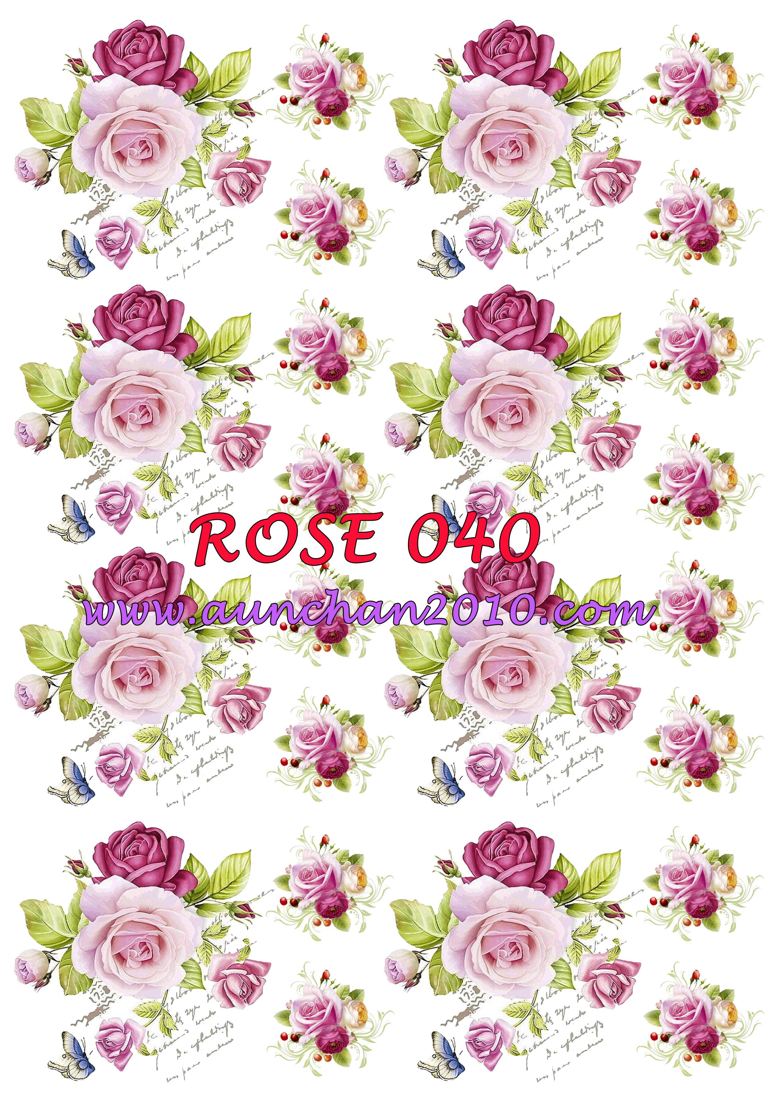 ROSE040 กระดาษแนพกิ้น 21x30ซม. ลายกุหลาบ