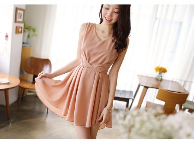 Dress ชุดเดรส ผ้าซีฟอง คงรูปและทิ้งตัวดี โทนสี Apricot มีซับใน ใส่ทำงาน ใส่เที่ยวได้