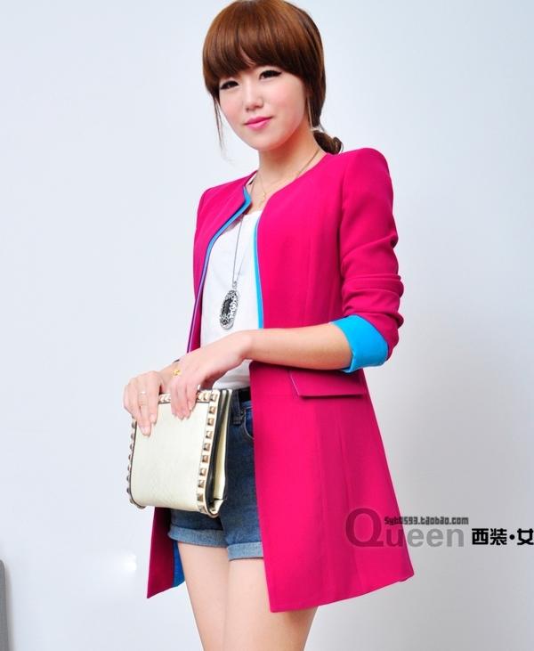 เสื้อสูทแฟชั่น พร้อมส่ง แขนยาว สีชมพูสดใส แต่งปลายแขนเสื้อสีฟ้า คอจีน ตัวยาวคลุมสะโพก เหมาะสำหรับใส่ทำงานได้