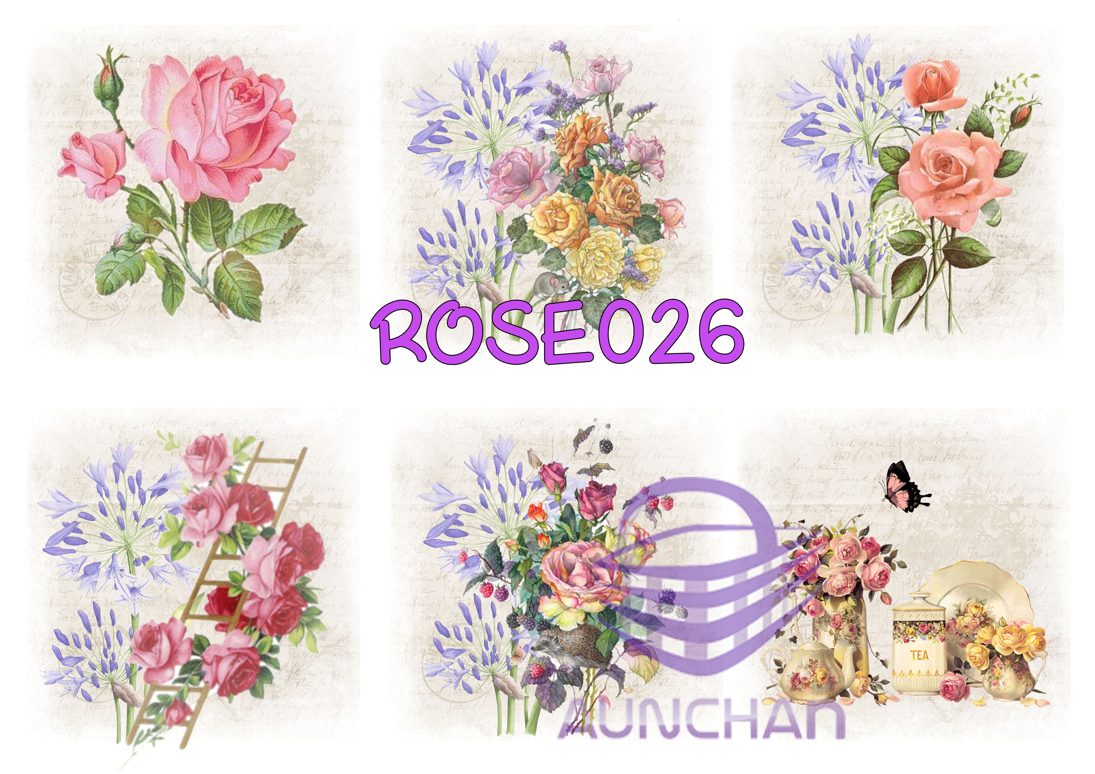 ROSE026 กระดาษแนพกิ้น 21x30ซม. ลายกุหลาบ