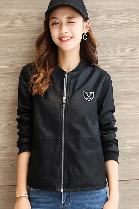 เสื้อแจ็คเก็ต เสื้อหนังแฟชั่น พร้อมส่ง สีดำ คอจีน หนัง PU เย็บทับด้วยผ้ามุ้งด้านนอกเก๋
